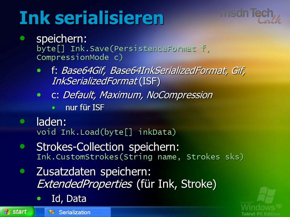 Ink serialisieren speichern: byte[] Ink.Save(PersistenceFormat f, CompressionMode c)